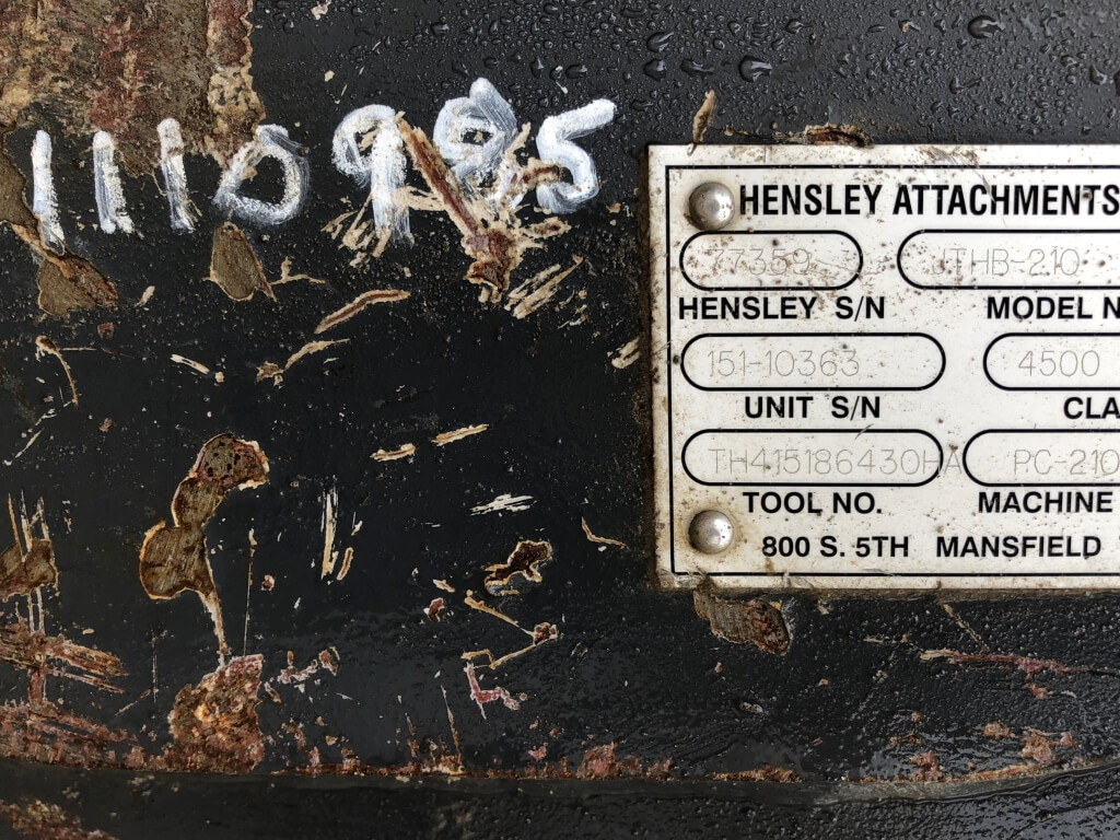 2015 Hensley JTHB-210-R Breaker full